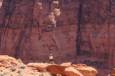 overlook: woman looks into Glen Canyon from an overlook Stock Photo