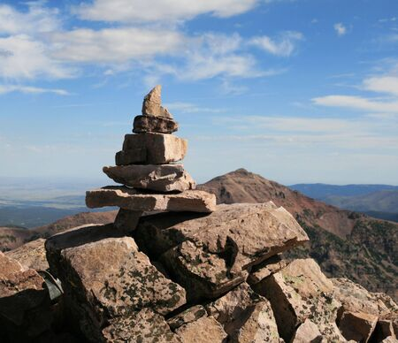 summit cairn on the top of Mount Hayden, Uinta Mountains, Utah Stock Photo - 3587366