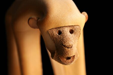 close up of leather monkey face with black background Stock Photo - 3587364