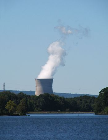 vertical image of Arkansas one nuclear power plant cooling tower, Russelville, Arkansas