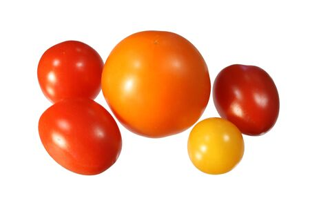 five small red, orange, and yellow tomatoes isolated on white Stock Photo - 3596499