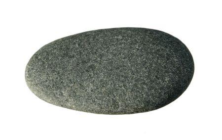 Gladde platte grijze kiezel geïsoleerd op witte achtergrond