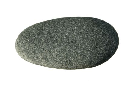 Smooth flat gray pebble isolated on white background Stock Photo