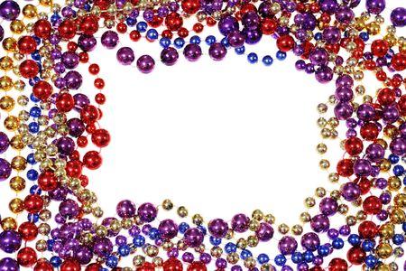 mardi gras: quadro di frontiera del Mardi Gras tallone collane isolato su bianco