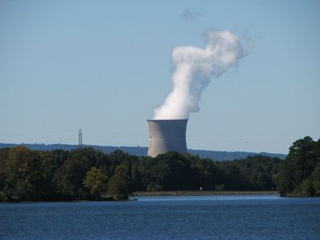 nuke plant: Arkansas one nuclear power plant cooling tower, Russelville, Arkansas Editorial