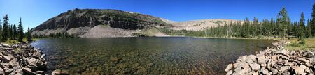 uinta mountains: panorama of Dean Lake in four lakes basin, Uinta mountains, Utah Stock Photo