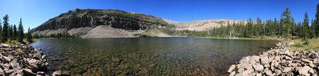 four peaks wilderness: panorama of Dean Lake in four lakes basin, Uinta mountains, Utah Stock Photo