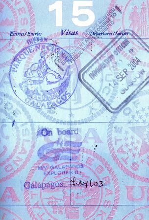 Passport stamps from the Galapagos Islands Stock Photo