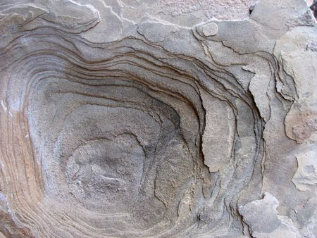 circles in sandstone from erosion of bedding planes