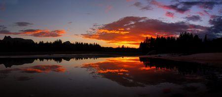 Sunset reflection in Tuolumne Meadows, Yosemite Stock Photo - 3615561