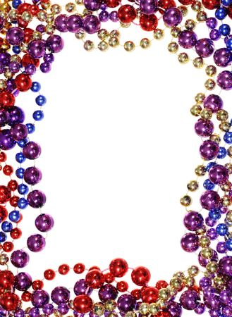 vertical image of border outline frame of  Mardi Gras bead necklaces isolated on white photo
