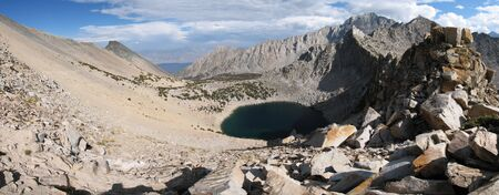 owens valley: panorama from Kearsarge Pass looking east over big pothole lake into the Owens Valley