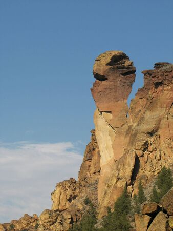 smith rock: monkey face rock formation at Smith Rock state park, Oregon Stock Photo