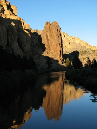 smith rock: reflection of Ship rock  in the crooked river at Smith Rock State Park, Oregon