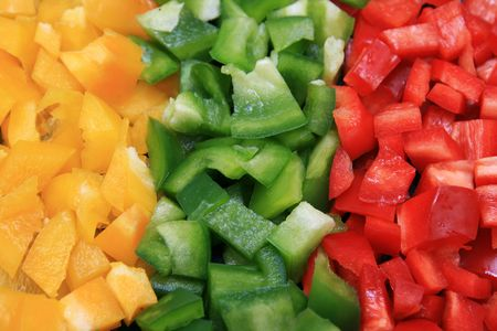 yellow, green, and red cut bell peppers Stock Photo - 3672299