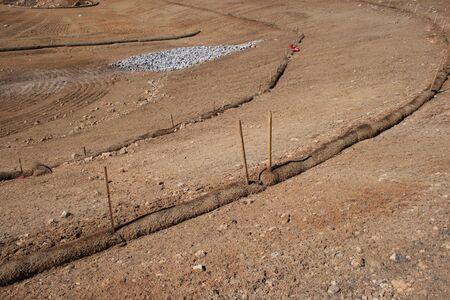 Stroh Flechtwerk Erosionskontrolle Struktur sch�tzt Boden und Ablauf auf der Baustelle benotet