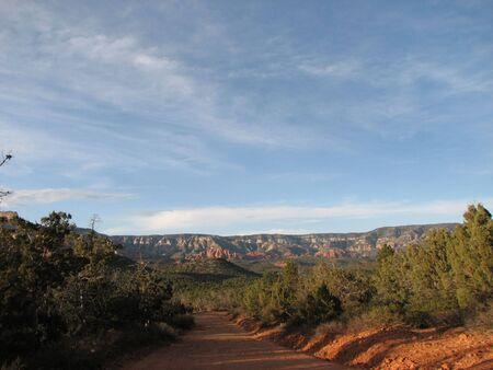 backroad: a red gravel road near Sedona, Arizona Stock Photo