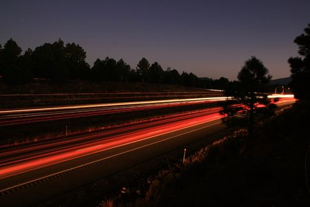 long exposure of traffic on I-17 in the early morning with headlight and taillight trails Stock Photo - 3691508
