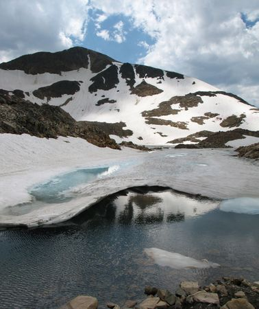 icy mountain lake in the Beartooth Mountains of Montana Stock Photo - 3702537