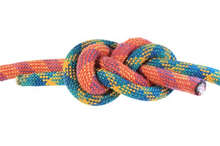 follow through: figure eight or flemish knot in red and green climbing ropes isolated on white