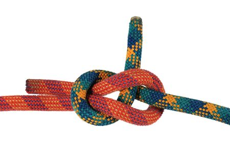 weavers: sheet bend or weavers  knot joining red and green climbing ropes isolated on white