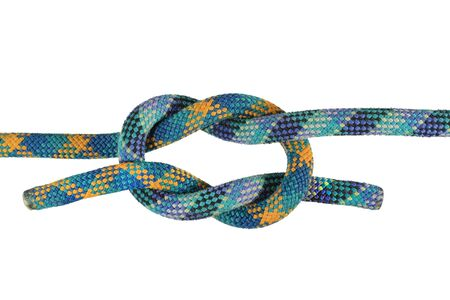 granny or false knot joining blue and green climbing ropes isolated on white Stock Photo - 3747697