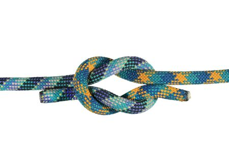 square or reef knot joining blue and green climbing ropes isolated on white Stock Photo - 3747694