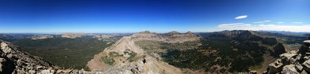 uinta mountains: panorama of the Uinta Mountains from Mount Agassiz looking southwest through north to the east
