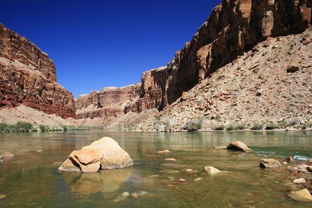 the Colorado River flows through Marble Canyon Stock Photo - 3863929