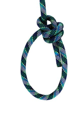 double bowline loop knot in blue and green climbing rope isolated on white