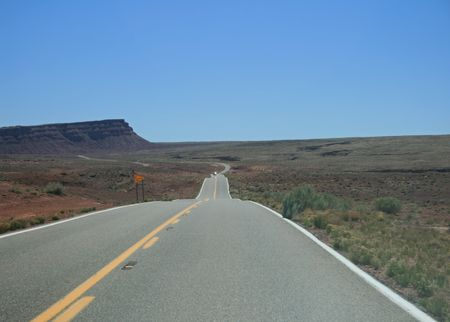 highway 89A in Northern Arizona cuts across the desert into heat haze Stock Photo - 3861265