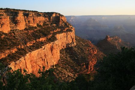 view of morning light on the Kaibab and Coconino formations from the Bright Angel Trail in the Grand Canyon Stock Photo - 3864017