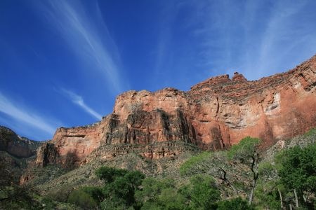 View up to the redwall limestone from Indian Gardens along the Bright Angel Trail in the Grand Canyon Stock Photo - 3864019