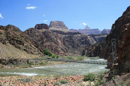 silver bridge across the Colorado River at the bottom of the Grand Canyon, Arizona Stock Photo - 3864026