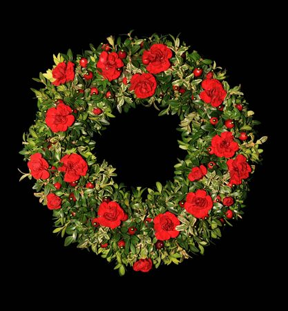 red carnation, boxwood, and cranberry Christmas floral wreath on a black background Stock Photo