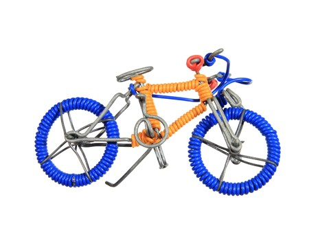 handmade African wire toy bicycle isolated on white background Stock Photo - 4015356