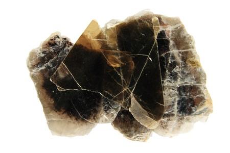 hand sample of dark phlogopite mica sheet mineral isolated on white Stock Photo - 4088242