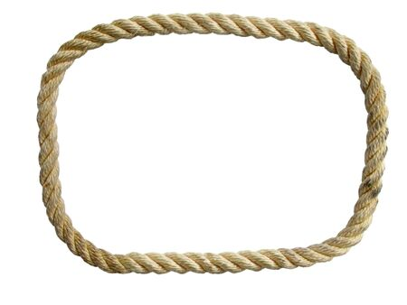 endless used nylon rope loop isolated on white background
