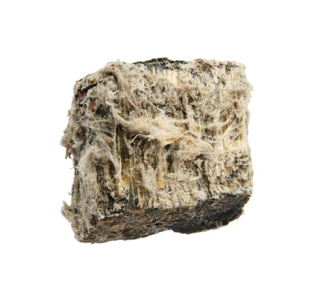 asbestos: rock sample of mineral asbestos isolated on white