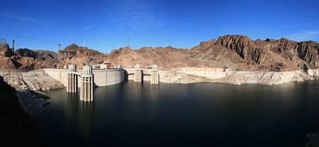mead: panorama of Hoover Dam and Lake Mead showing the low water level and bridge construction of early 2009