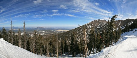 Panorama of the Arizona Snowbowl including Mount Humphreys Stock Photo
