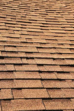 vertical detail of brown roof shingles Stock Photo