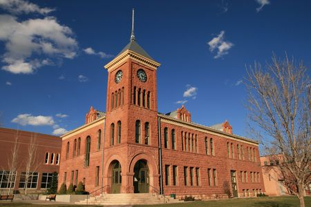 the old 1894 Flagstaff sandstone courthouse, Flagstaff, Arizona Banco de Imagens