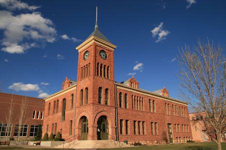 the old 1894 Flagstaff sandstone courthouse, Flagstaff, Arizona Stock Photo