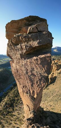 vertical panorama of monkey face rock spire as seen from the adjacent rim, Smith Rock State Park, Oregon