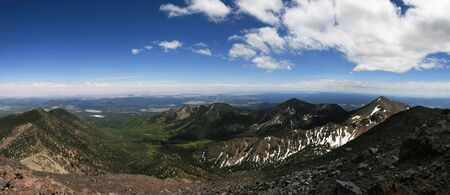 panorama from Humphreys Peak, the highest point in Arizona in the San Francisco Peaks near Flagstaff looking east and south into the inner basin Stock Photo - 5040215
