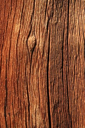 weathered red splitting pine wood trunk background texture Stock Photo