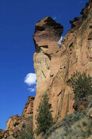 view up at monkey face rock spire in Smith Rock State Park Фото со стока