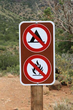 no camping no fires no campfires sign along a trail in Arizona Stock Photo - 5077911