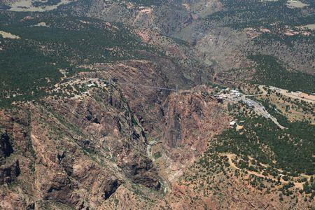 aerial photo of Royal Gorge and bridge, Colorado